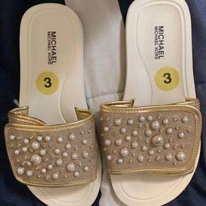 New Rare Michael Kors Gold Slides